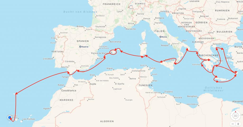 Mittelmeer Karte Inseln.Unsere Segelreise Von Griechenland Zu Den Kanarischen Inseln